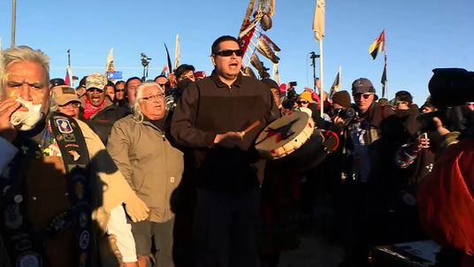 Native Americans celebrate the decision on the Dakota Access Oil Pipeline