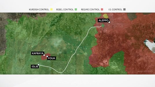 The evacuation route from Aleppo  to Idlib