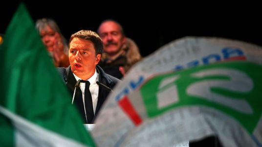 "Italian Prime Minister Matteo Renzi speaks during the last rally for a ""Yes"" vote i"