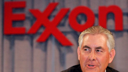 Chairman and chief executive officer Rex W. Tillerson speaks at a news conference following the Exxon Mobil Corporation Shareholders Meeting in Dallas, Texas, May 28, 2008