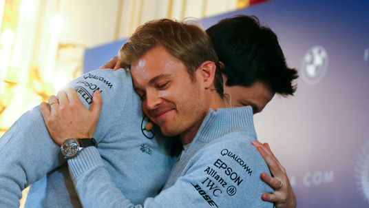 Nico Rosberg of Germany hugs Mercedes Executive Director Toto Wolff