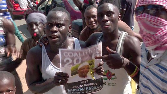 Supporters of Mr Barrow celebrated his victory at the polls