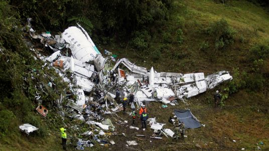 The wreckage of the plane carrying the Chapecoense team after it crashed