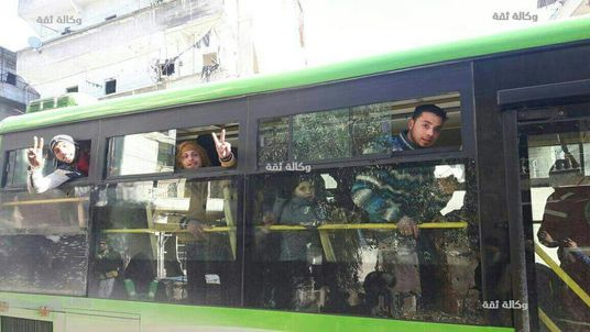 The buses were heading for Idlib, west of Aleppo