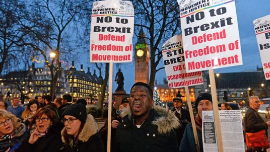 Anti-Brexit campaigners outside the Supreme Court in London