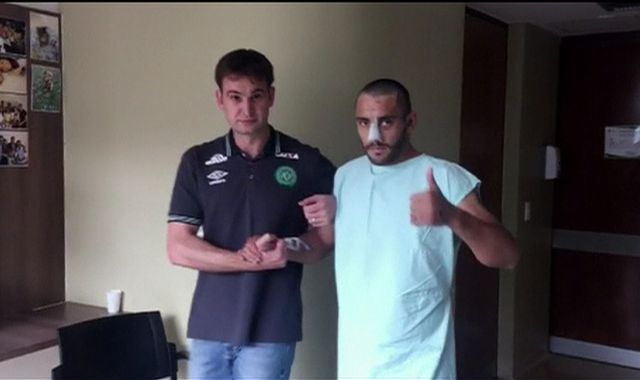 Chapecoense crash survivor Alan Ruschel thanks well-wishers in video