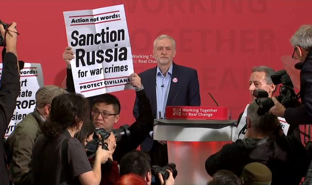 Peter Tatchell leads protesters in disrupting Jeremy Corbyn speech