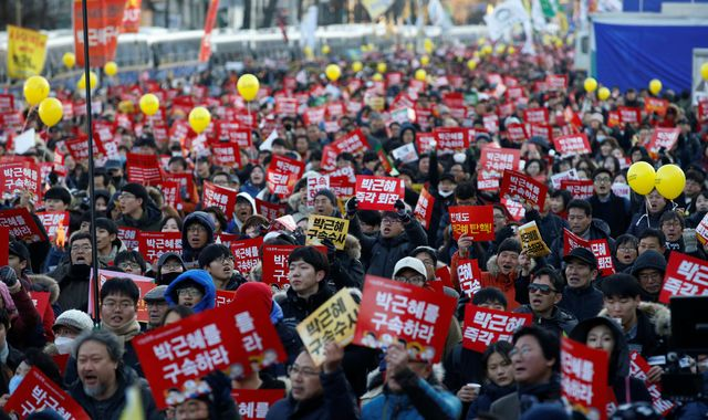 South Koreans celebrate President Park Geun-hye's impeachment