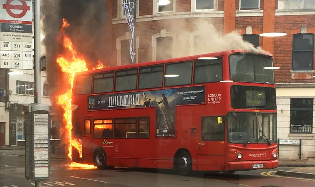 Kingston High Street evacuated after bus bursts into flames