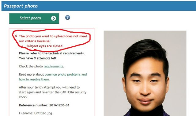 Passport photo-checking service tells Asian man to open eyes