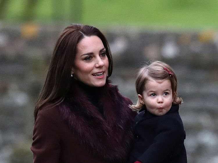 The Duchess of Cambridge and Princess Charlotte at Christmas Day service at St Marks Church in Englefield, Berkshire
