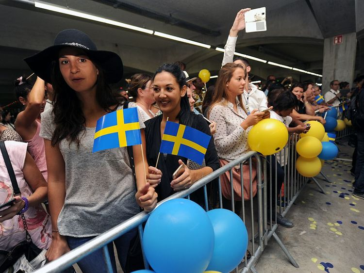 Customers at the opening of an IKEA store in France