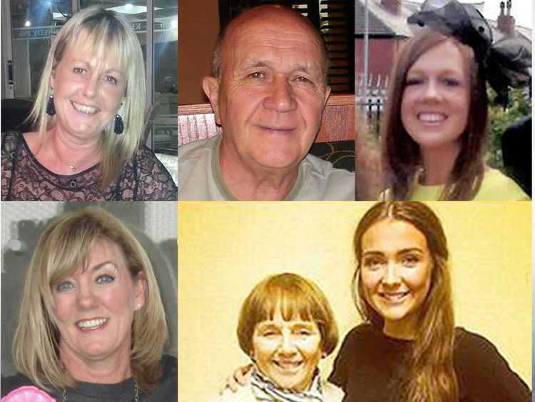 Victims (clockwise from top left) Gillian Ewing, Jack Sweeney, Stephenie Tait, Lorraine Sweeney and granddaughter Erin McQuade, and Jacqueline Morton