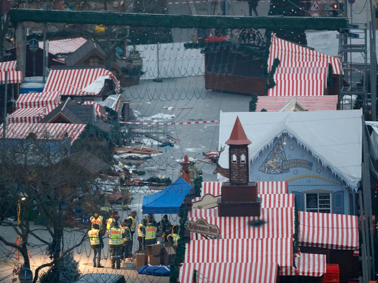 The empty Christmas market where a truck ploughed through a crowd