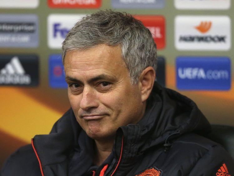 Jose Mourinho, manager of Manchester United, at Central Stadium Chernomorets in Odessa, Ukraine, ahead of Europa League clash v Zorya Luhansk