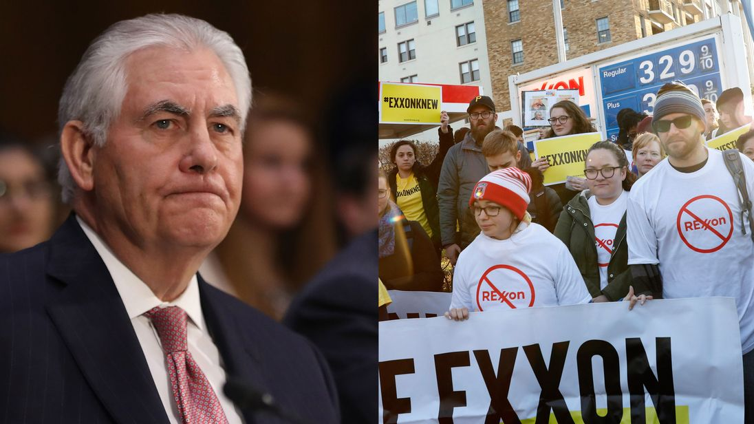 Rex Tillerson and people protesting against him as the next Secretary of State
