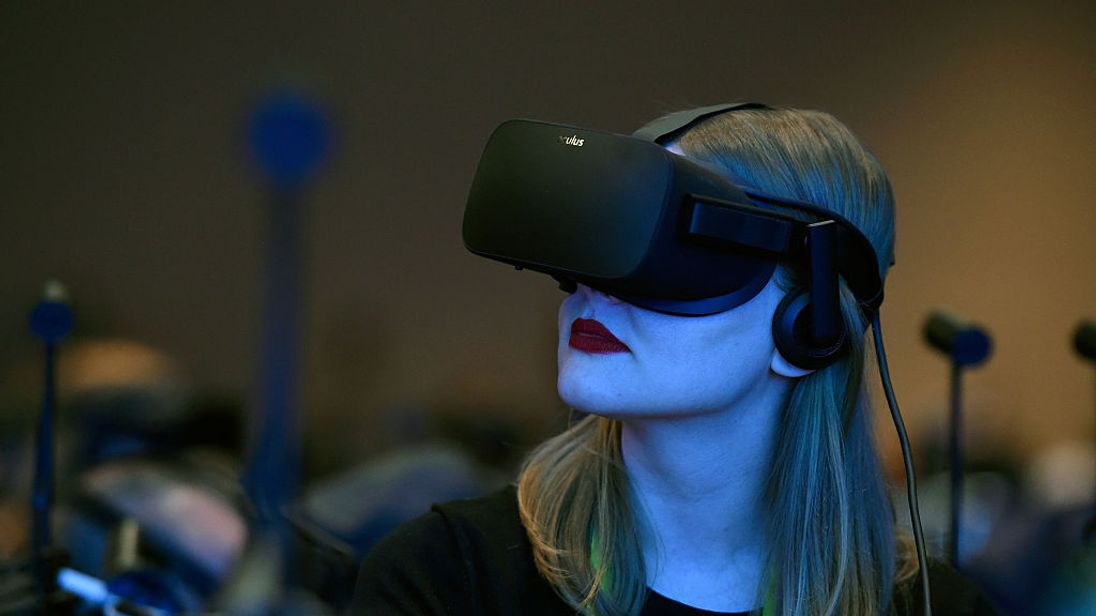 Attendees wear goggles to sample Virtual Reality at CES in Las Vegas