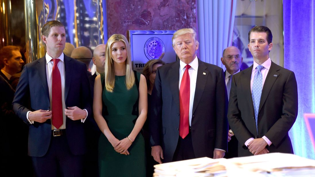 Donald Trump along with his children Eric (L) Ivanka and Donald Jr