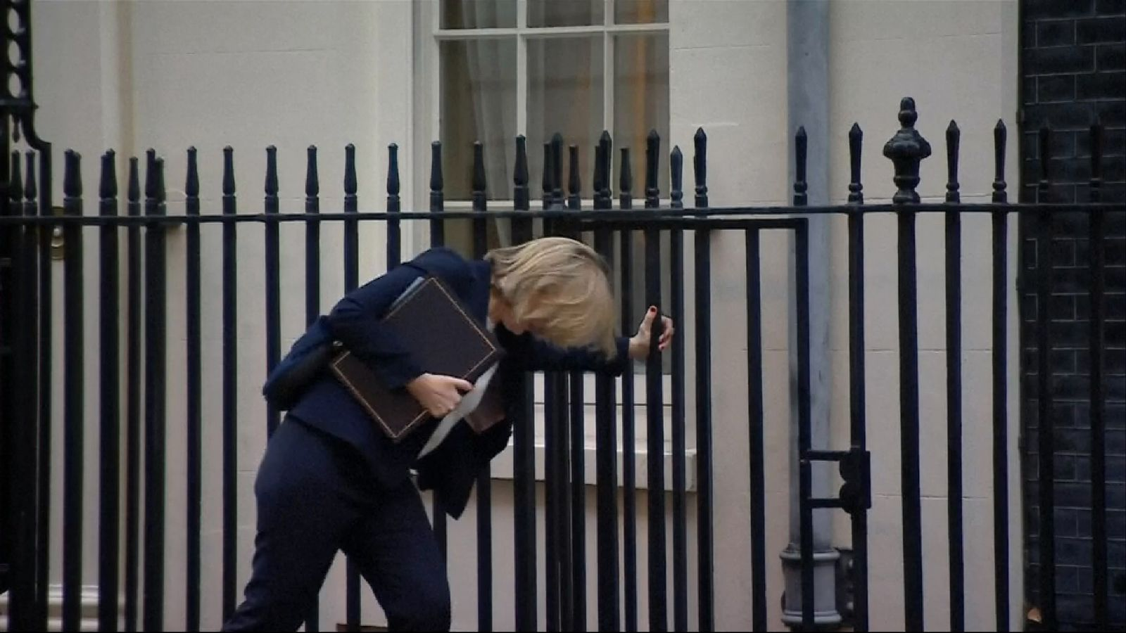 Amber Rudd stumbles after getting her heel in a Downing Street pavement crack
