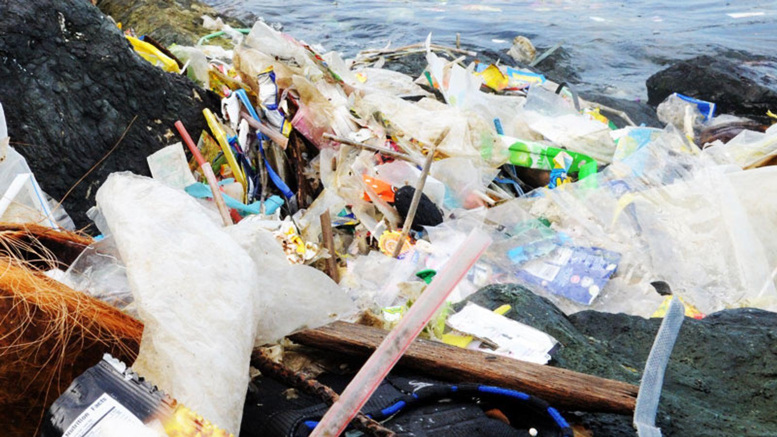Plastic rubbish piles up on the coastline.