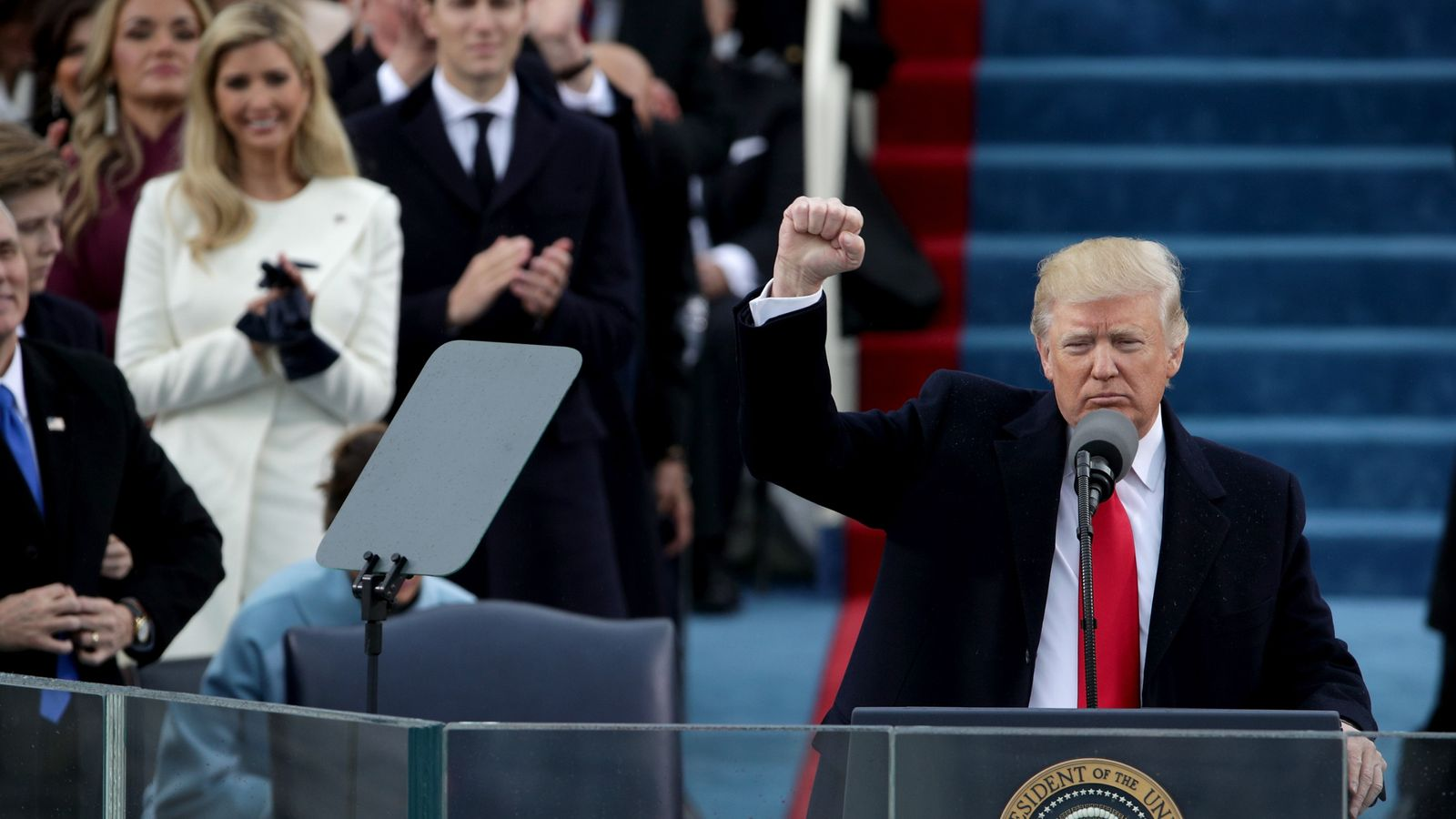 Donald Trump gives fist salute during inauguration