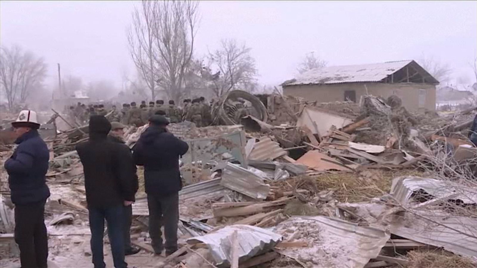Debris from the cargo plane crash in Kyrgyzstan