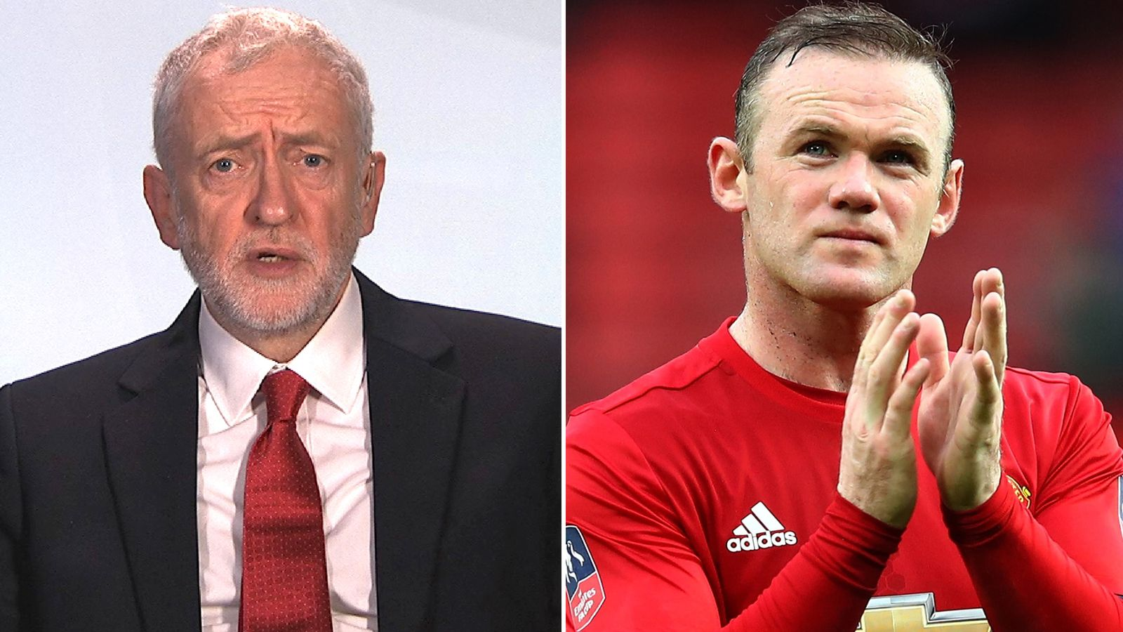 Jeremy Corbyn and Wayne Rooney