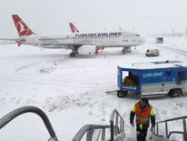 Heavy snow still covered Istanbul's Ataturk Airport on Monday