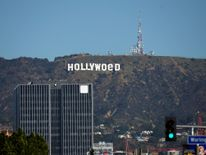 The Hollywood sign after being defaced