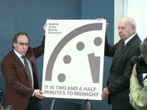 The Bulletin of the Atomic Scientists announces a change to its Doomsday Clock at the Washington D.C National Press Club.
