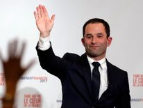 Former French education minister Benoit Hamon reacts after partial results in the second round of the French left's presidential primary election in Paris, France, January 29, 2017