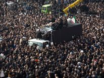 Mr Rafsanjani's coffin was carried through the crowds on a truck