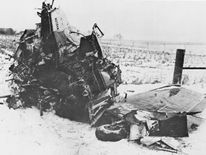 The crashed Beechcraft Bonanza airplane in Iowa, 1959