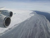 The edge of the Larsen Ice Shelf meets open water and sea ice