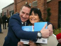 Campaigners Margaret McGuckin and Martin Adams after the report's publication