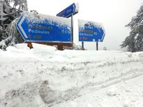 Road signs covered in snow following heavy snowfall in the Troodos Massive in the Mediterranean Island of Cyprus