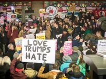 A protest against US President Donald Trump's controversial travel ban in Leeds