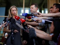 Kate and Gerry McCann talking to journalists in 2014