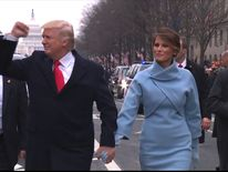 Donald Trump walks part of the way to the White House during inaugural parade