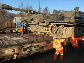 Five Challenger tanks were taken to France and back. Pic: @DefenceHQ