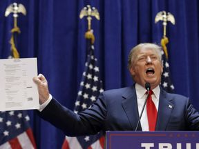 Trump holds displays his net worth as he launches his presidential campaign in 2015