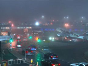 Foggy conditions at Heathrow