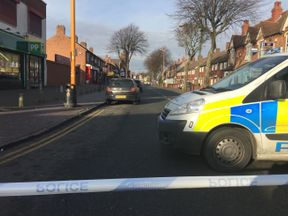 A police cordon at the scene in Rookery Road, Handsworth
