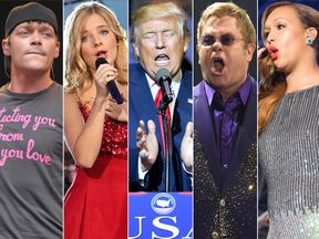 Brad Arnold of Three Doors Down, Jackie Evancho, Donald Trump, Elton John and Rebecca Ferguson