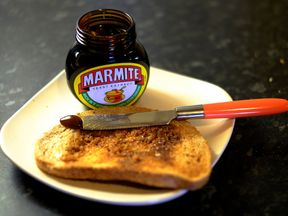 Toast with Marmite, a Unilever brand, sits on a kitchen counter in Manchester, Britain October 13, 2016.