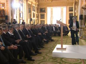 Theresa May addresses Conservative MPs