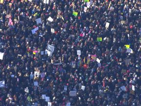 Thousands march in protests in central London