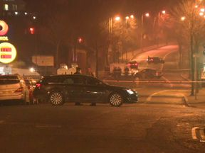A photo of the scene where a police officer was shot at about 7.30pm on Sunday