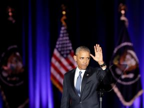 U.S. President Barack Obama waves after giving a farewell address at McCormick Place in Chicago