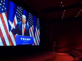 Donald Trump seen on cinema screen